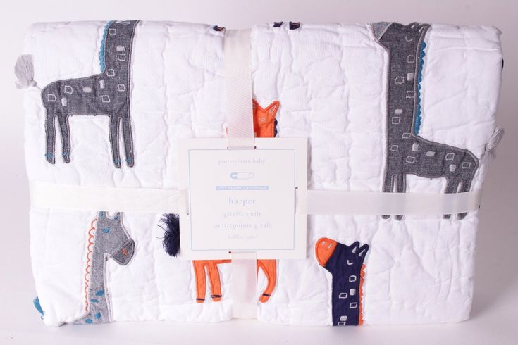 Quilts and Coverlets 180908: Nwt Pottery Barn Kids Harper Giraffe Nursery Toddler Crib Quilt Navy Gray Orange -> BUY IT NOW ONLY: $69.95 on eBay!