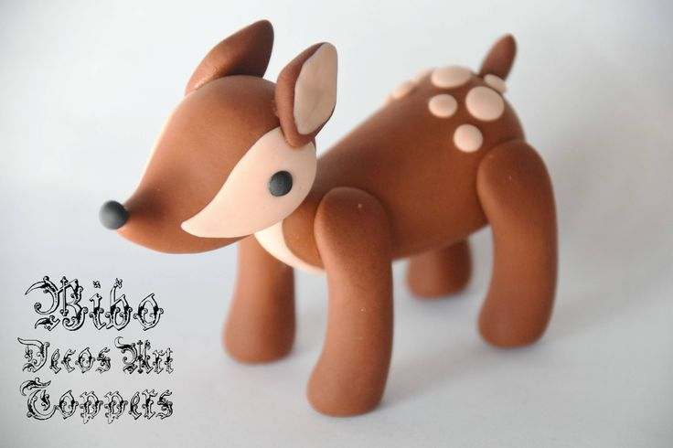 Edible 3D Woodland Animal Deer Cake Decoration Fondant Topper , Birthday Cake Topper by BiboDecosArtToppers on Etsy