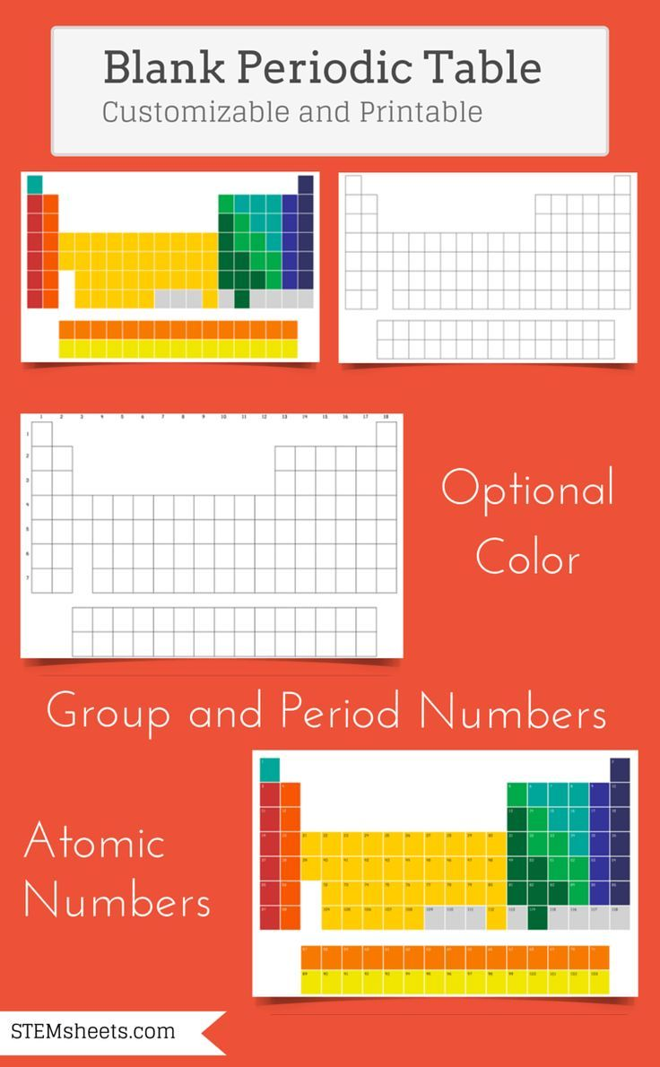 51 best periodic table images on pinterest life science customizable and printable blank periodic table of elements use as a fill in the blank worksheet available in color and can include atomic numbers gamestrikefo Choice Image
