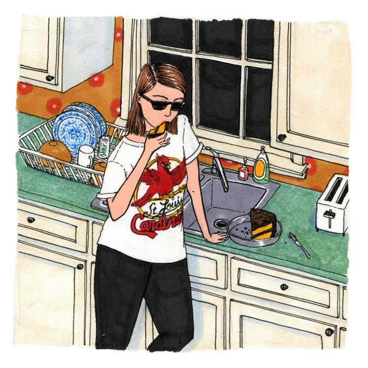 Artist Sally Nixon's illustrations portray women in refreshingly realistic scenes.