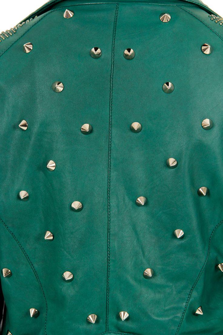 DROMe Donna Giacca di pelle biker borchiata - Spence Outlet