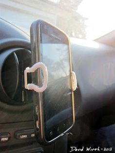 DIY Cell Phone Holder - For Your Car  http://davewirth.blogspot.com/2012/02/cell-phone-clip-car-holder.html  DIY – Cell phone clip for your car, made from a metal binder clip