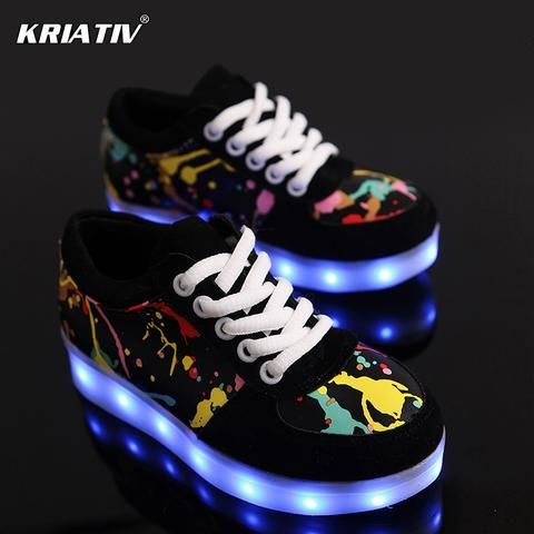 KRIATIV USB Charger children led shoes for Boy&Girl glowing