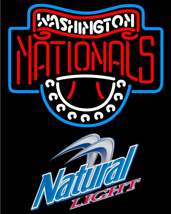Natural Light Washington Nationals MLB Neon Sign 3 0011, Natural Light with MLB Neon Signs | Beer with Sports Signs. Makes a great gift. High impact, eye catching, real glass tube neon sign. In stock. Ships in 5 days or less. Brand New Indoor Neon Sign. Neon Tube thickness is 9MM. All Neon Signs have 1 year warranty and 0% breakage guarantee.