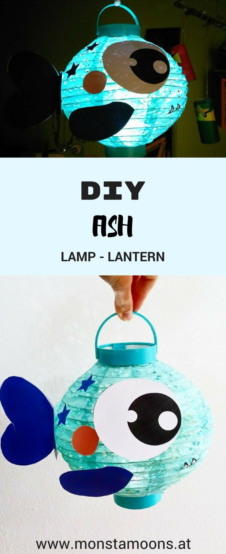 Lampe für's Kinderzimmer basteln, Laterne basteln, Fisch Laterne, Fisch lampe, lantern craft, Monstamoons, fish craft, fish lantern