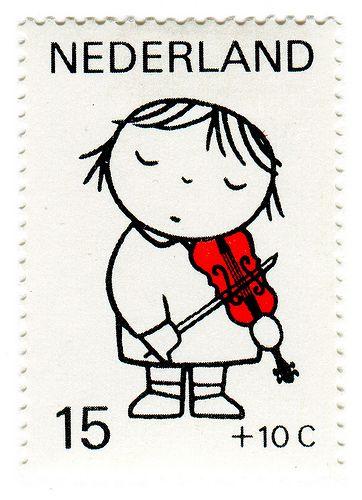 Vintage Postage Stamp: Dick Bruna, violin: Netherlands, 1969
