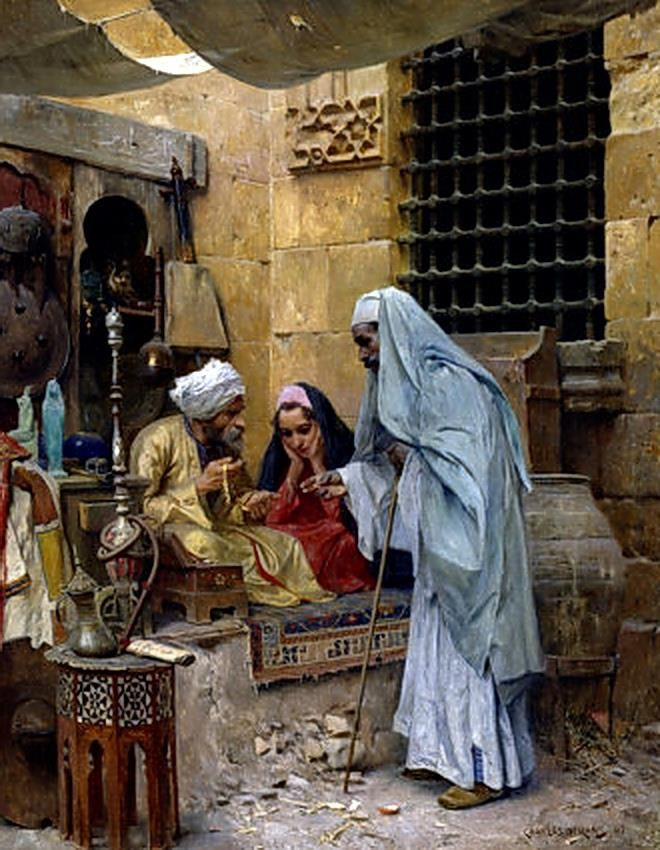Charles Wilda (Austrian, 1854-1907) In the Bazaar , Cairo , 1901 Oil on canvas , 20 7/8 x 16½ in. (53 x 42 cm.)