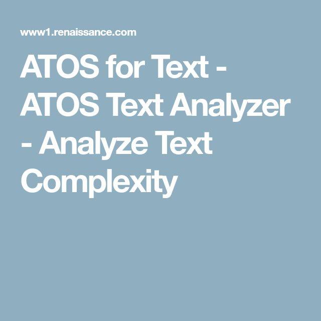 ATOS for Text - ATOS Text Analyzer - Analyze Text Complexity