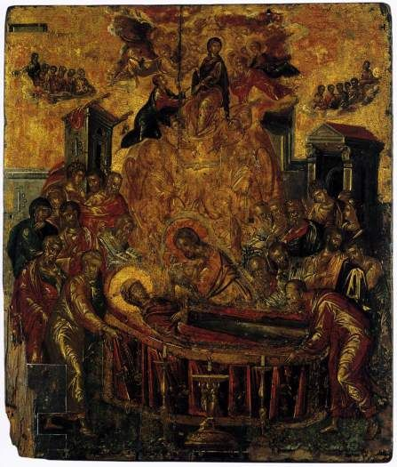 The Dormition of the Virgin. Before 1567. Domenikos Theotokopoulos (El Greco). This is one of his earliest known paintings. Cathedral of the Dormition of the Virgin, Syros, Greece.
