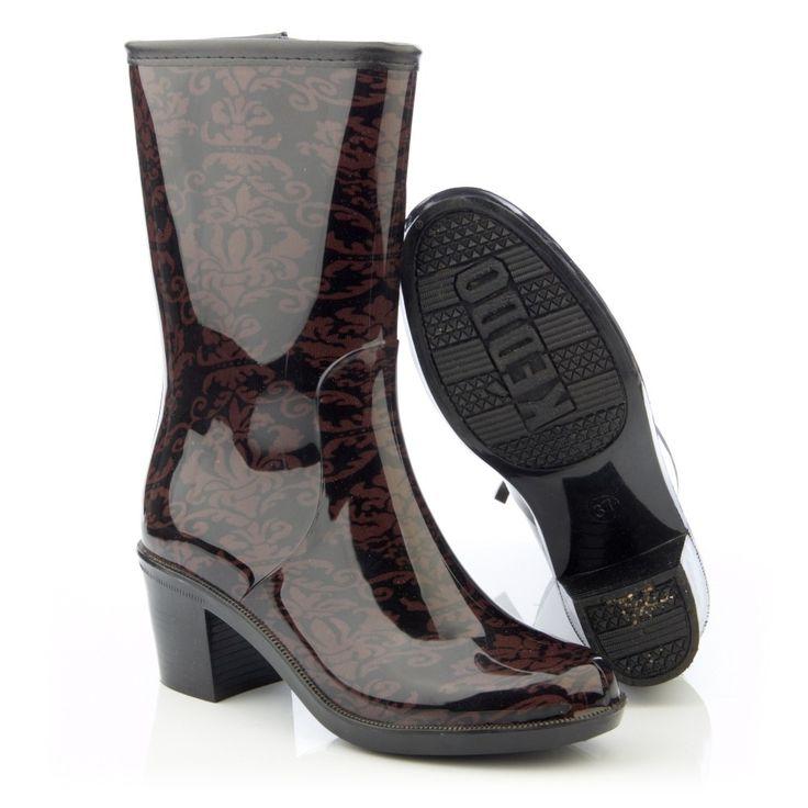 черные коричневый женские резиновые сапоги keddo из пвх на каблуке 328572/116#01