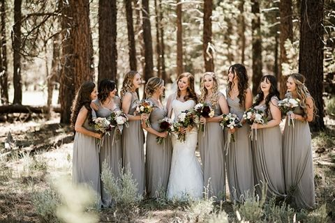 FivePine Lodge summer wedding. Sisters, Oregon wedding. Central Oregon wedding Destination. Kimberly Kay photography. Bridal party. Grey bridesmaids dresses