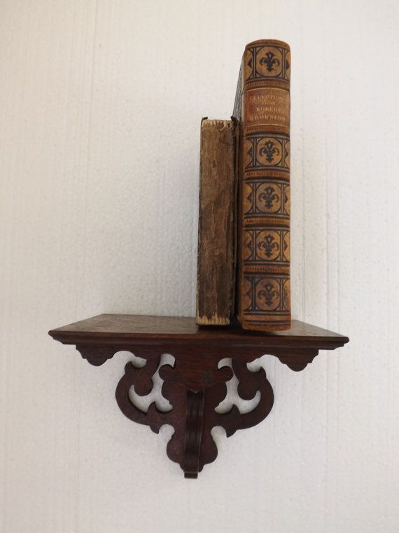 Small Antique Wall Shelf in Carved Oak / by CuriosAnCollectibles