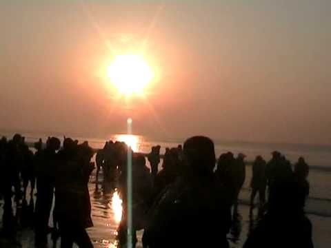sun rise in new digha sea beach (celebration of new year)
