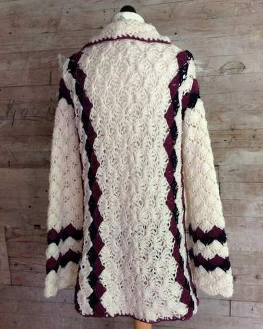 crochet blue purple white shell afghan