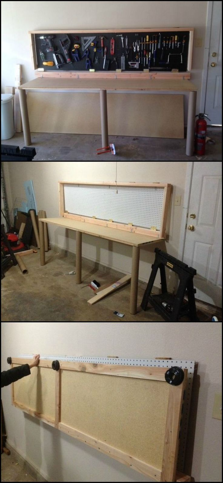 Learn How To Build A Wall-Mounted Folding Workbench  http://theownerbuildernetwork.co/0czu  Sometimes garages have to double as workshops, which generally means there isn't enough room for the cars and a workbench.  This fold up workbench is the perfect solution for a space that has to be multi-purpose.