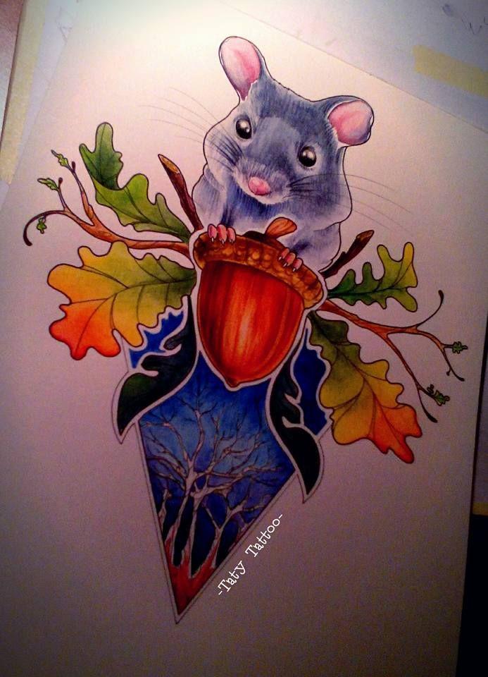 Mouse made by Taty Tattoo  topo cincillà ghianda acorn foglie leaves watercolor pencils colors tatuaggio sketch studio