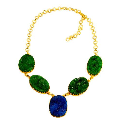 GREEN AND BLUE DRUZY NECKLACE