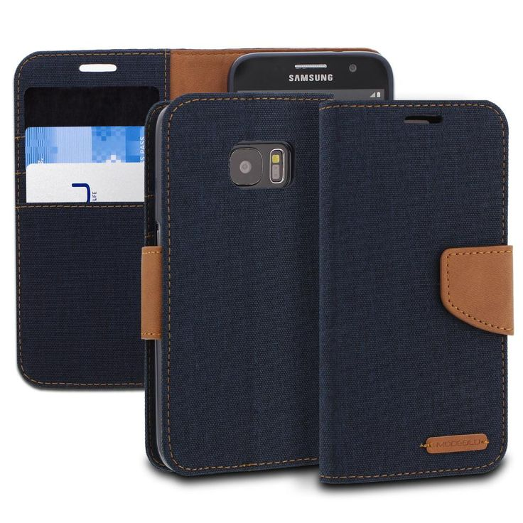 Galaxy S7 Case Pocket Diary Canvas Wallet Cover - ModeBlu