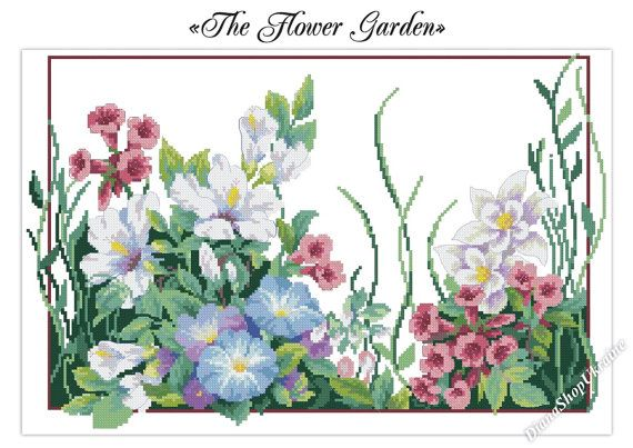 If you love floral patterns, you should definitely try this one. Its full of charming colors and flowers that will remind you of blooming summer.  This digital PDF counted cross stitch pattern is an instant download so you can start stitching today!  Pattern Info: - Fabric: white Aida; - Size: 218 x 141 stitches; - Stitches required: full cross stitches, half stitches, quarter stitches, back stitches, french knots; - Colours: 36 DMC floss colours  Use 2 strands of thread for cross stitch…