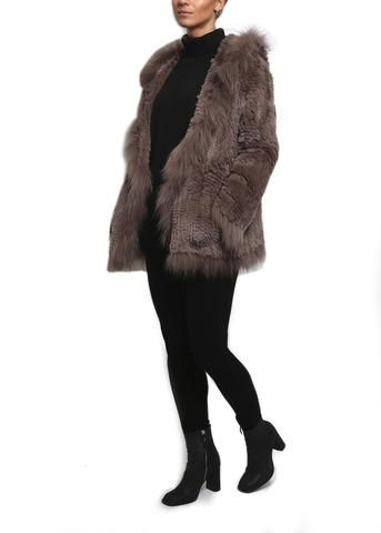 Fur 5 Eight Taupe Knitted Rex Rabbit & Raccoon Fur Hooded Jacket