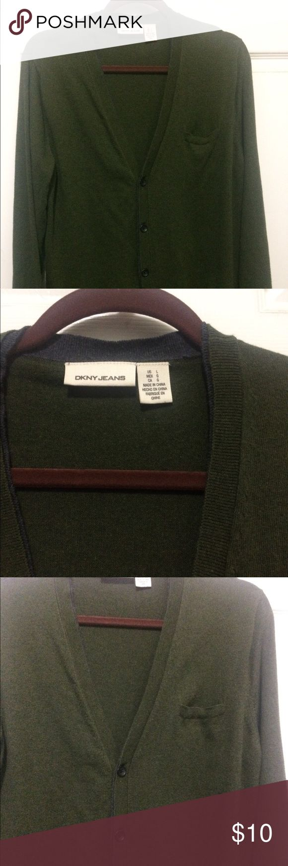 DKNY Men's Cardigan DKNY large, olive green cardigan for men with slit pocket in front. 100% cotton. DKNY Jackets & Coats Lightweight & Shirt Jackets