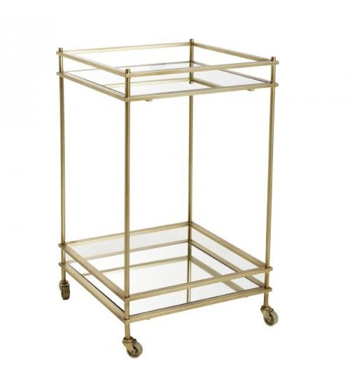 METAL_GLASS TROLEY TABLE IN GOLDEN 46X46X75