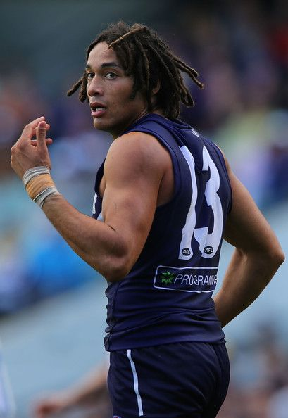 Tendai Mzungu of the Dockers looks on during the round 13 AFL match between the Fremantle Dockers and the North Melbourne Kangaroos at Patersons Stadium on June 23, 2013 in Perth, Australia.
