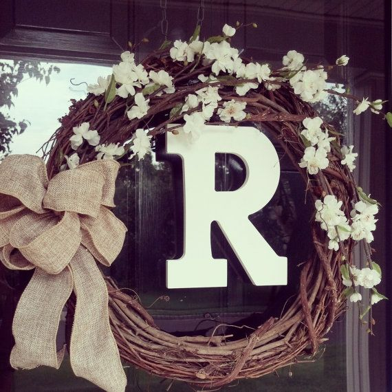 Wreath, Personalized 18 Grapevine Wreath, Front Door Wreath, Burlap Bow Wreath, Monogram Wreath via Etsy