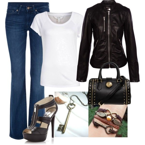 wonderful polyvore outfits leather jacket shoes