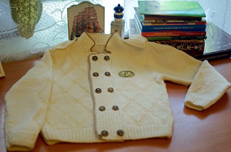 Hand knitted Boys cardigan Little Captain.