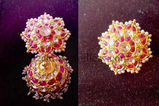 #Jhumkas, #kundan, #indianjewelry, #mughaljewelry, #shaadi, #india, #diamond, #shaadijewelry , #goldjewelry, #gold, #earrings