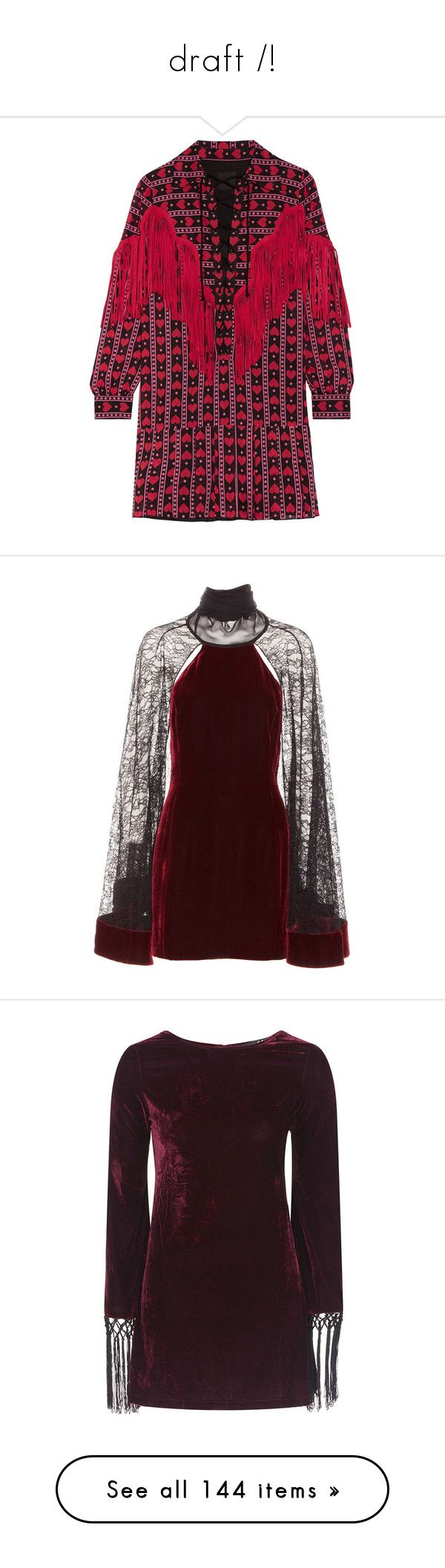 """draft /!\"" by xxeucliffexx ❤ liked on Polyvore featuring dresses, red, long red dress, fringed dresses, short long dresses, polka dot dresses, slip dresses, short dresses, vestidos and women"