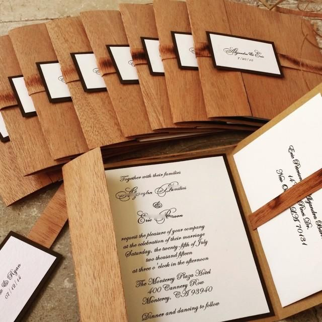 Yes, this Wooden Pocket-fold Rustic Wedding Invitation is made with Real wood!  An Organic wood invitation folio  harvested in Honduras . The wood has a very nice grain and a luxurious appearance. Set the theme for your wedding day with this Rustic, Bohemian invitation!Pricing:1 to 99 = $7.00100 and up $6.75*The price of the listing showing  is the 50% deposit for 100 invitations Wedding Invitation Facts: *Real wood cover - This is our original design, not available in the market!*Comes...