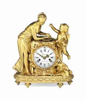 A LOUIS XVI ORMOLU MANTEL CLOCK CIRCA 1780.   IN THE MANNER OF LOUIS PRIEUR