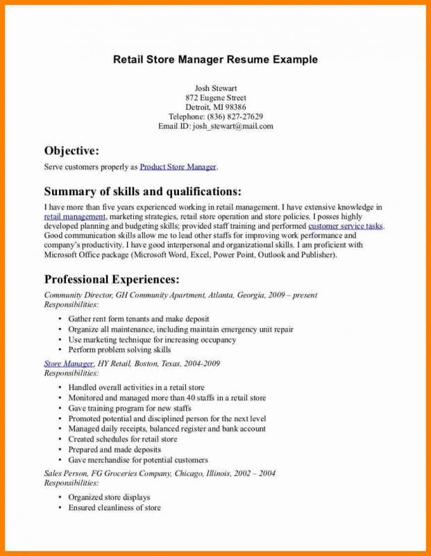 Retail Resume Template Template Pinterest Resume Sample