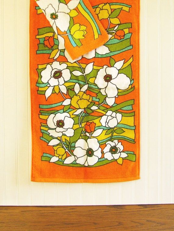 Vintage Fieldcrest Hand Towel and Wash Cloth by HipCatRetroVintage