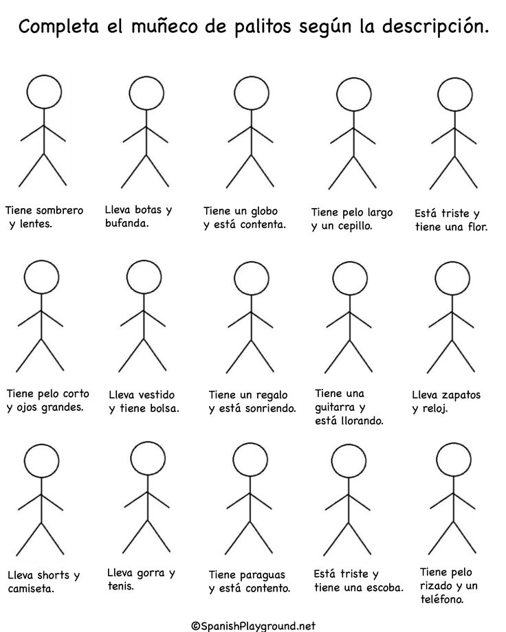 Complete the stick man according to the given instructions