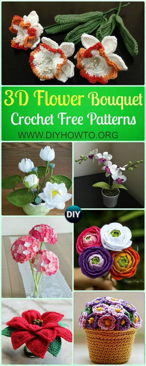 Crochet 3D Flower Bouquet Free Patterns: Rose, Hydrangea, Waterlily, Christmas Poinsettia, Orchid more Vivid in Pot or Vase via @diyhowto