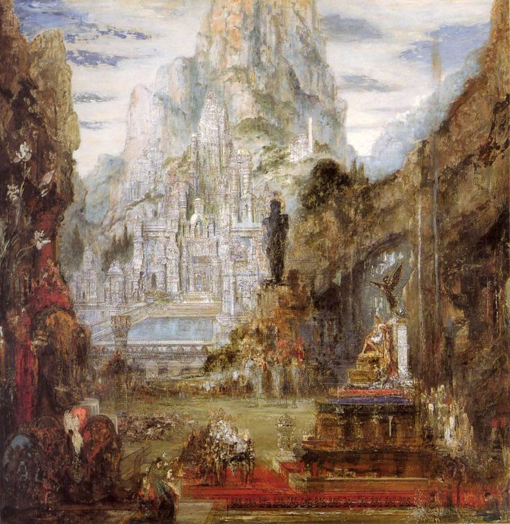 """Gustave Moreau: """"The Triumph of Alexander the Great"""", between 1873 and 1890, oil on canvas, Dimensions: Height: 155 cm (61 in). Width: 155 cm (61 in), Current location: Musée Gustave Moreau, Paris, France."""