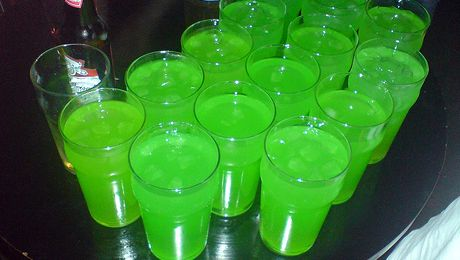 Fat Frog. 1/3 Smirnoff ice, 1/3 blue WKD, 1/3 orange Bacardi breezer - so making these at the weekend