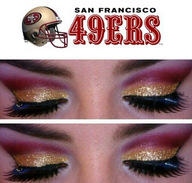 LADIES: need your MOJO on game days. Besides your other 49ers stuff - try some 49ers Eye Makeup (search Youtube for NFL makeup, 49er makeup, then get your game face on.