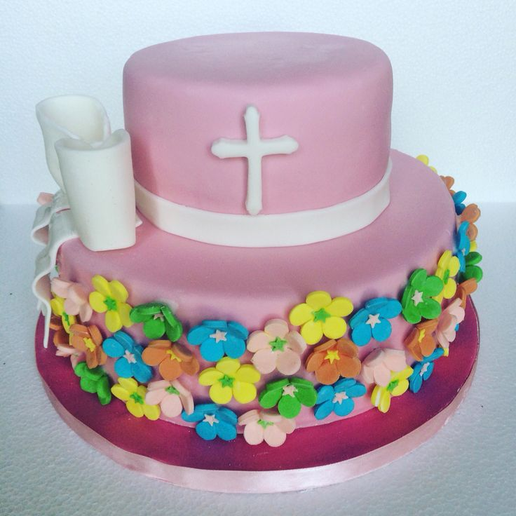 Flower Cake with Pink Fondant