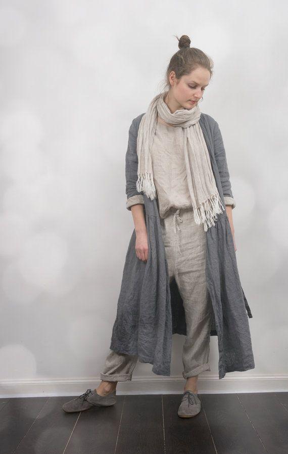 Linen Wrap Dress / Jacket by KnockKnockLinen on Etsy