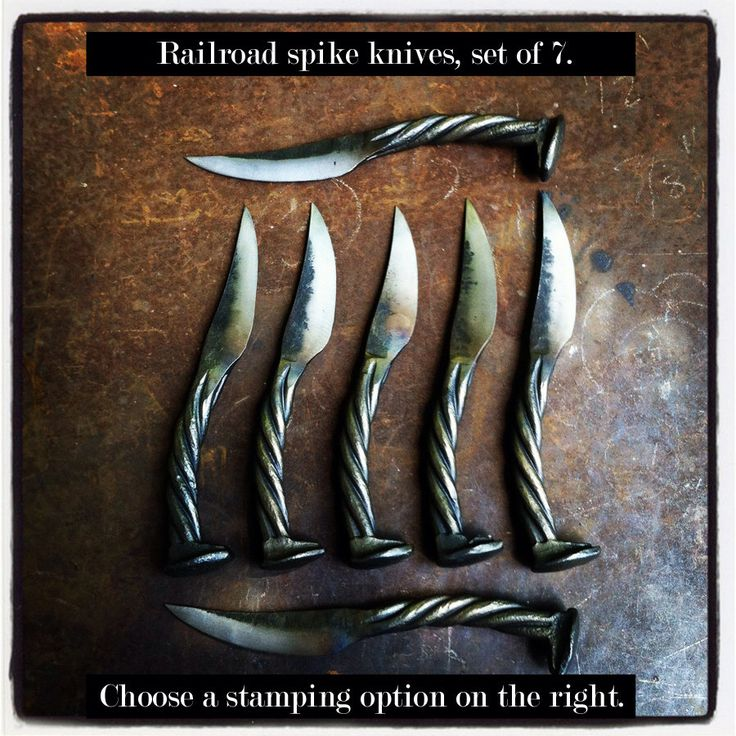 Set of 7 - Groomsmen Gifts - Personalized Railroad Spike Knives - item K4 - - Groom Gift. Usher Gift. Father of the Bride. Best man. Favor by NorthernCrescentIron on Etsy https://www.etsy.com/listing/108864065/set-of-7-groomsmen-gifts-personalized