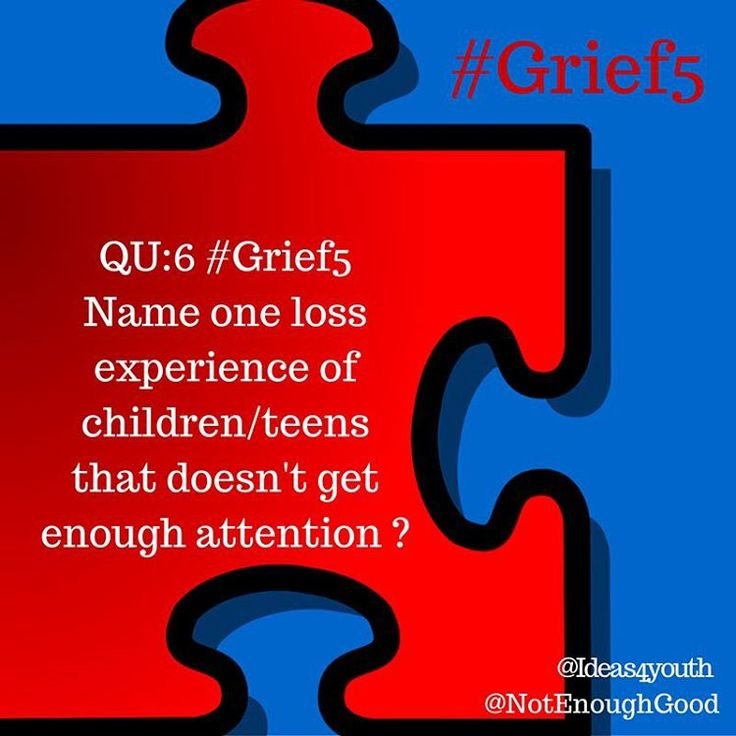 #Grief5 QU:6 Name one loss experience of children and teens that doesn't get enough attention? Our tweetchat may be over, but our conversations about grief experiences of #children and #teens are not.  We #thankyou for participating in our campaign and we encourage you to continue your own conversations about grief experiences of #youth.  We hope in our campaign through our memes, blog posts, and YouTube #bestpractice videos we've given you some things to think about.  We encourage your…