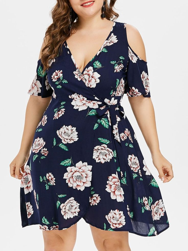 Plus Size Plunging Neckline Wrap Dress Deep Blue 3x