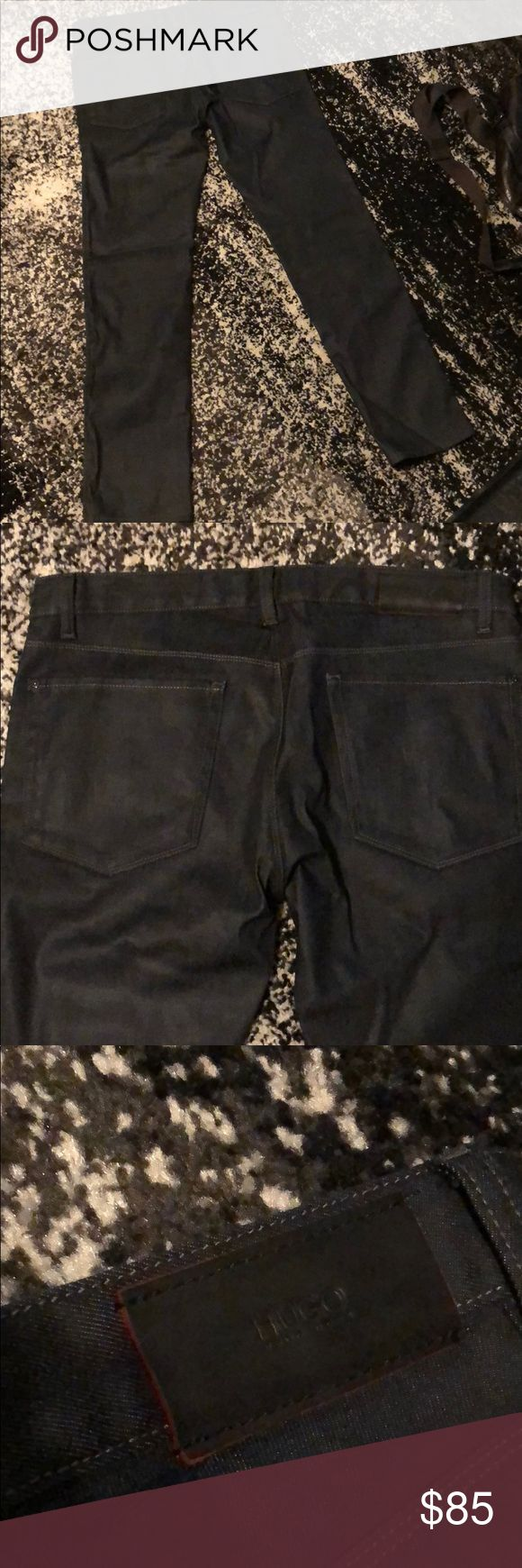 Hugo Boss Black/Grey Denim Jeans - 34 👖 Inside tags were cut off due to discomfort. Material is thicker, almost wax-like. Hugo Boss Jeans