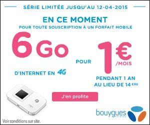 Bouygues Telecom : pour toute souscription d'un forfait mobile 6 Go d'Internet nomade en 4G pour 1€/mois pendant 1 an