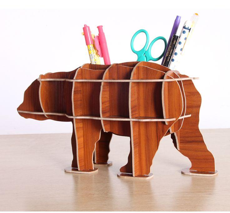 Медведь твердой древесины самостоятельного строительства головоломки хранения ручка Многофункциональная ручкакупить в магазине Shenzhen Kong Home Furnishing Co., Ltd.наAliExpress