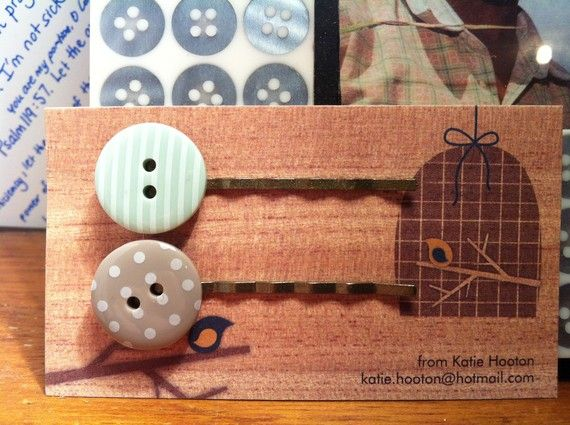 Button Bobby Pins by KatieHootie on Etsy, $5.00